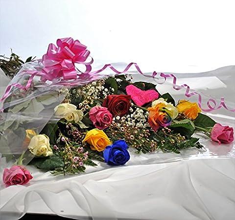 Happy Dozen Luxury Rainbow Rose Bouquet - FREE Next Day