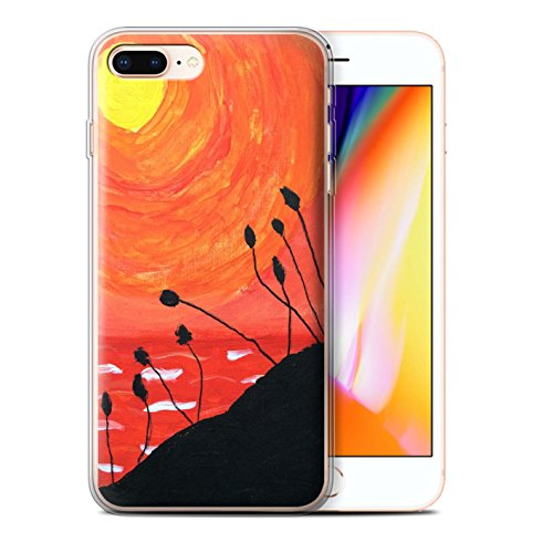 Stuff4 Gel TPU Hülle / Case für Apple iPhone 8 Plus / Orange Muster / Sonnenuntergang Ölgemälde Kollektion Orange