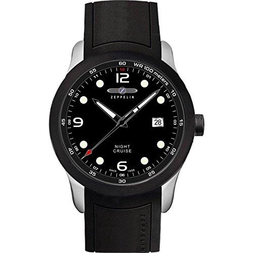 Zeppelin Herren Analog Quarz Uhr mit Kautschuk Armband 72402