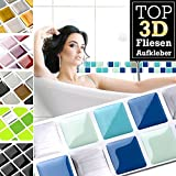 Grandora Fliesenaufkleber 7 Stück 25,3 x 3,7 cm blau türkis Silber Fliesenaufkleber Design 17 I 3D Mosaik Fliesenfolie Küche Bad Aufkleber W5423