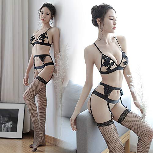 KEDCD Handschellen Sexspielzeug Pad Lady BH Set Sexual Sexy Dessous Strumpfband, Dreipunkt-Set + Schwarzes Netting - Netting-bett Schwarz