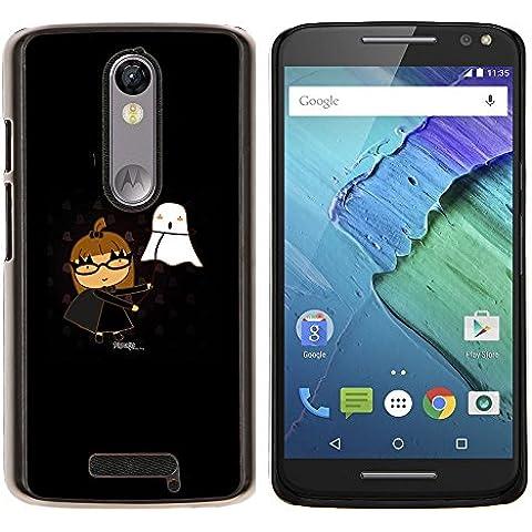 For Motorola Droid Turbo 2 / Moto X Force Case , Cute Funny Girl & Ghost- Diseño Patrón Teléfono Caso Cubierta Case Bumper Duro Protección Case Cover