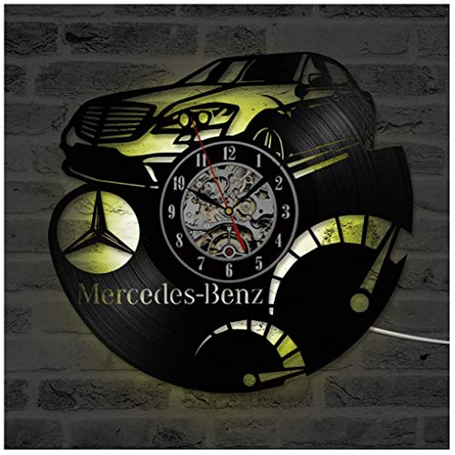 MXHSX Auto BANZ Vinyl Record Wanduhr, LED Leucht 12 Zoll Retro Vinyl Record Clock Dekoration Sieben Farben