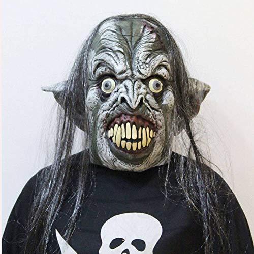 Kostüm Zähne Scharfe - AIYA Halloween Maskerade Nachtclub Karneval grün weißes Gesicht Perücke große Zähne scharfe Nase Latexmaske