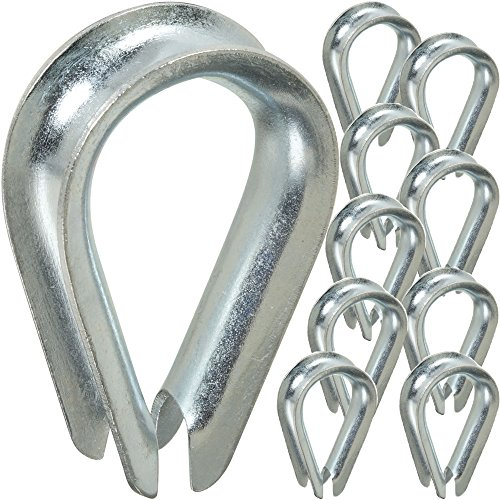10x 6mm Stahl verzinkt Fingerhüte-Wire Seil Zurrgurte Kabel Haken & Schleife Klemme -
