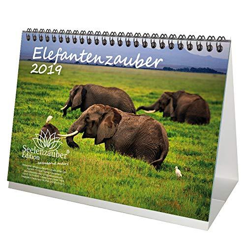 Elefante mágica · DIN A5· Premium mesa/Calendario 2019· Elefantes · África · Animales · Wildnis · Natural · Set de regalo con 1tarjeta de felicitación y 1Tarjeta de Navidad (· Edition Alma mágica