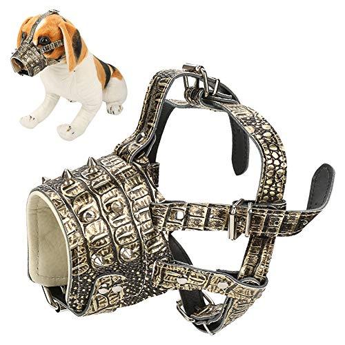 Pssopp Máscara de adiestramiento de Perros con Correas Ajustables antirruido antirruido Piel de Perro sintético bozal para Perro de Seguridad(Marrón Dorado)