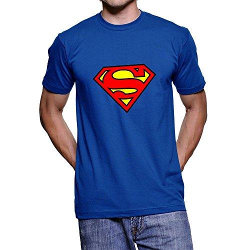 Fanideaz Branded Round Neck Cotton Superman Tees for Men_Royal Blue_M