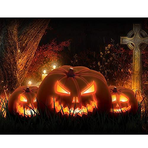 Gruselige Halloween-Kürbis-Grabmalerei mit Diamant-Gemälde DIY Wand Kreuzstich Dekor Collectsound, Q1363, Einheitsgröße (Mit Garn Halloween-basteln)