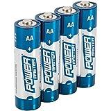 Powermaster 992118 - Pack de 4 pilas súper alcalinas, AA/LR6, color azul