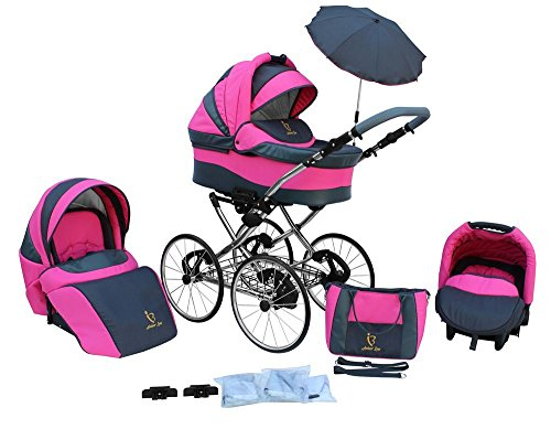 *Kinderwagen AmberLine Classica Retro_PINK, 3 in 1- Set Wanne Buggy Babyschale*