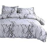 Ntbed - Parure de lit en microfibre effet marbré - comprend une housse de couette et 2 taies d'oreillers - pour lit king size/double king size/super king size
