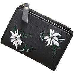 Toamen Cierre De Cremallera De Moda De Mujer Mini Billetera Corta Portatarjetas Monedero Billetera (B)