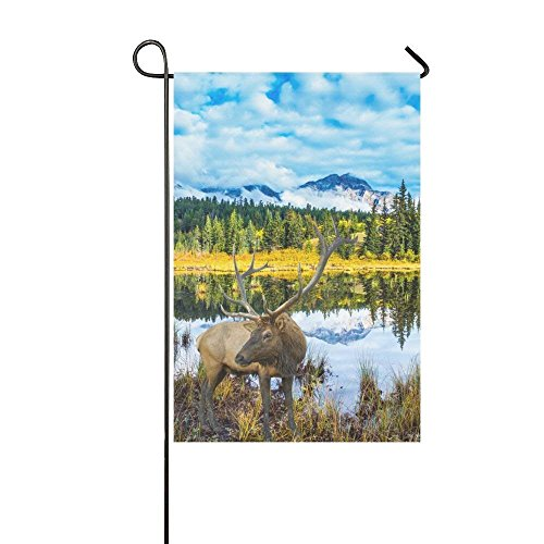 Deer and Rocky Mountains Polyester Garden Flag House Banner, Warm Autumn Day National Park Decorative Flag for Party Yard Home Outdoor Decor 12.5x18 inches