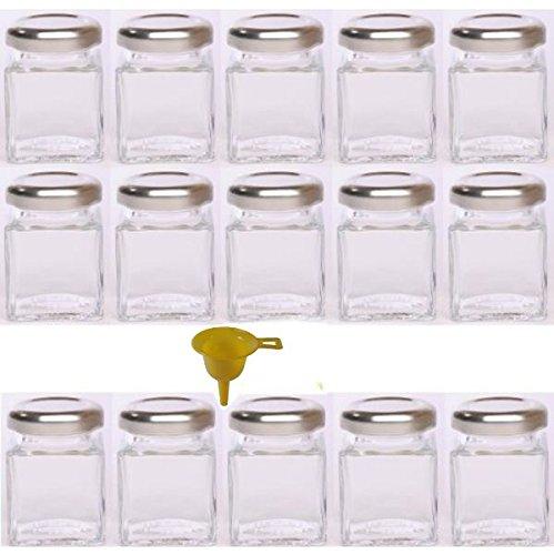 - 15 x Mini-Marmeladenglas / Gewürzglas 50 ml mit silberfarbenem Schraubverschluss, Gläser Set mit Deckel für Gewürze, Konfitüre, Salz etc. verwendbar (inkl. Trichter) (Kleine Kunststoff-gläser Mit Deckel)