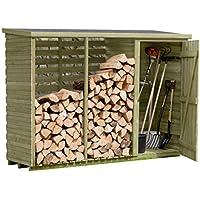 Gartenpirat Brennholzregal mit Geräteschrank außen