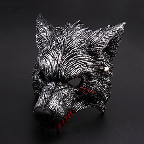 Unomor Halloween Werewolf Maske mit Blutflecken, Dunkelgraues, lebendiges Werewolf Design