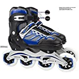 Sufi World Size Adjustable PU Wheels Aluminum-Alloy Skates with LED Flash Light, 6-14 Years (Blue)