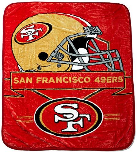 Northwest NFL San Francisco 49ers Prestige Plüsch Raschel Überwurf Decke, 152,4x 203,2cm rot (Nfl Plüsch-fußball)