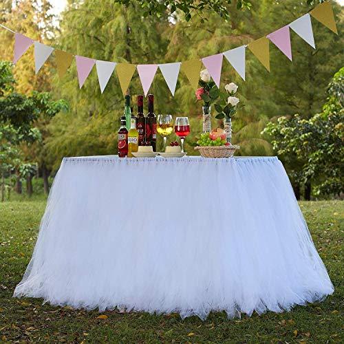AYUE® Rosa Tutu Tüll Tisch Rock Abdeckung Mesh Flauschigen Tisch Rock für Mädchen Prinzessin Birthday Party Baby Duschen Hochzeiten Urlaub Parteien Dekoration,White
