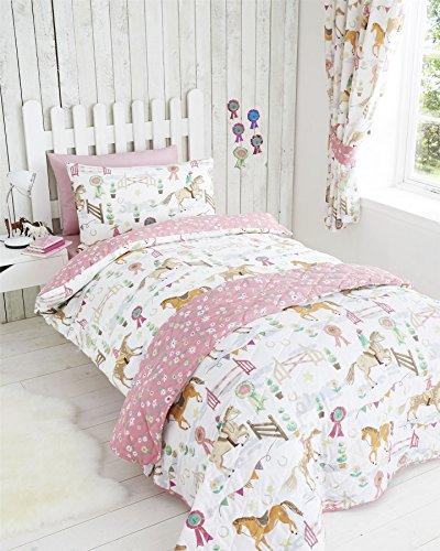 Kids Club - Parure de lit Simple - Housse de Couette et taie d'oreiller - Motif Chevaux - pour Fille