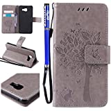 FESELE Coque Etui pour Samsung Galaxy A3(2016) Portefeuille Pu,Samsung Galaxy A3(2016) Étui Folio en Cuir,Samsung Galaxy A3(2016) Coque à Rabat Magnétique Housse Etui de Protection Chat Arbre Conception Ultra Slim Mince Pure Leather Pu Case avec Dragonne Corde Flip Wallet Protective Case Cover avec Fonction Stand et Fentes de Carte de Crédit Flexible Souple Tpu Coque Intérieure pour Samsung Galaxy A3(2016) + 1 x Stylet - Gris