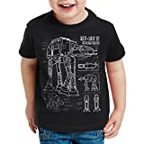 style3 AT-AT Cianotipo Camiseta para Niños T-Shirt fotocalco azul andador, Color:Nero;Talla:104