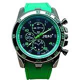 Tongshi Acero Inoxidable Sport Luxury Cuarzo analógico Moderno Hombres Reloj de Pulsera de Moda (Verde)
