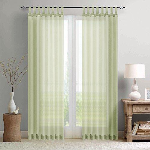 TOPICK Gardine Vorhang transparent mit Stangendurchzug Fensterschal Dekoschal Voile 245 x 140 cm Oliv