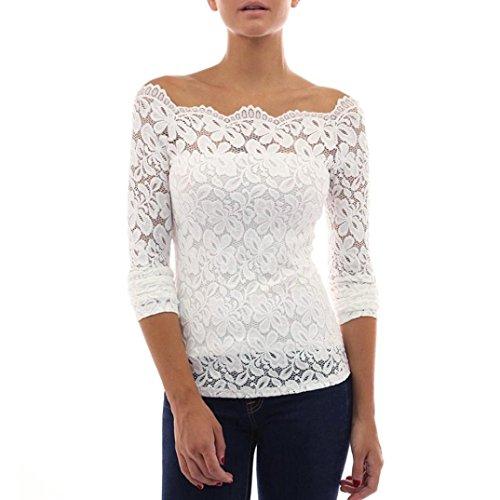 Tops Damen Btruely Mädchen Langarm Shirt Trägerlos Bluse Elegantes T-Shirt Sexy Top Lace Hemd (L, Weiß)