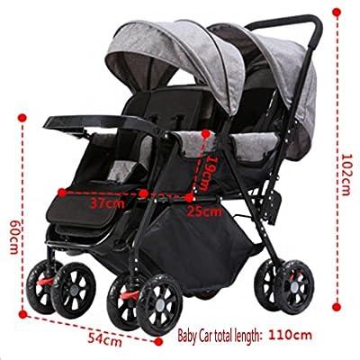 WAWDZG Doble cochecito de bebé 0-36 meses antes y después del modelo de coche puede sentarse dormir Rueda universal cochecito plegable portable del gemelo del bebé del cochecito de bebé de cuatro rued