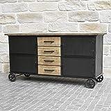 Bahut mueble aparador con ruedas industrial rústico, hierro y madera