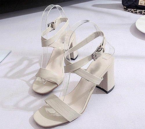Offene Sandalen hohle Quer Wort Schnalle Schuhe mit dicken Absätzen weibliche wilden , meters white , US5.5 / EU35 / UK3.5 / CN35 (Meter Schweiß)