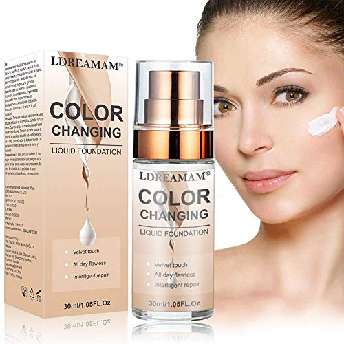 Flüssige Grundierung,Flüssiges Make-Up,Concealer-Abdeckung,Langlebige flüssige Grundierung,Make-up-Basis,Makellose Farbwechselgrundierung 30ML -