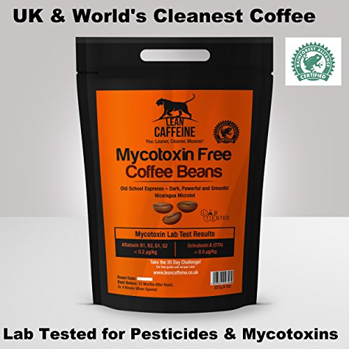 Lean Caffeine Bulletproof Coffee Ground/Beans 227g | Pesticide & Mycotoxin Free, Low Acid 51Ibt2ecQWL