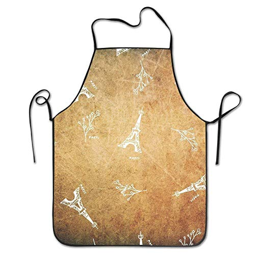 Fashion Adjustable Kitchen Chef Apron Paris Eiffel Tower Polyester Material Home Apron BBQ Apron -