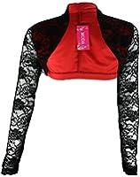 #921 Damen Spitzen Langarm Bolero Jacke Schwarz Pink 34 36 38