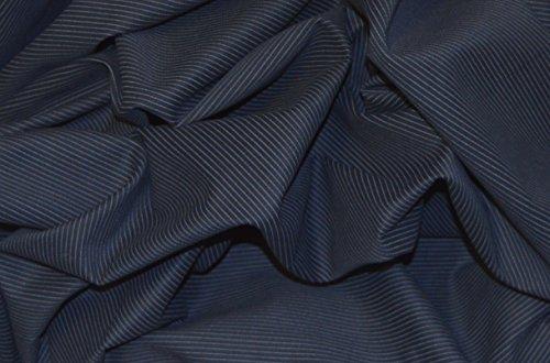 NAVY blau Italienischer Baumwolle Herringbone weiß Nadelstreifen Stoff Meterware (Nadelstreifen-rock Navy)