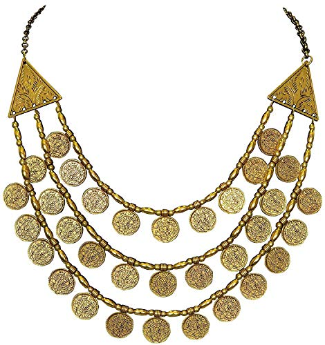 Indian Handicrafts Export Sansar India Ancient Oxidized Golden Plated Three Layer Multi-Strand Coins Necklace for Girls and Women