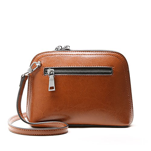 E-Girl Q0897 Damen Leder Handtaschen Satchel Tote Taschen Schultertaschen Braun