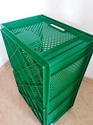Kartoffelkiste Obstkiste Stapelbox Plastikkiste Aufbewahrungsbox Gemüsekiste Kunststoffbox Transportbox Apfelkiste grün 60 x 40 x 26 cm von Profi Produkte Vertrieb bei Du und dein Garten