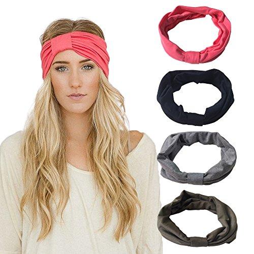 DRESHOW 4 Pack DRESHOW Stretchy Stirnbänder Yoga Mode Reise Solid Farben Hairband Feuchtigkeit Wicking Bandana Turban Schal