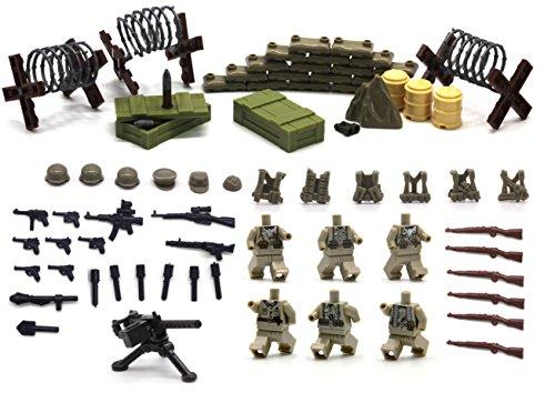 Serie de la Segunda Guerra Mundial de la fuerza alemana - Mini figuras de Lego personalizadas - Juego de armas, Bunker, Cajas de armas, Alambre de púas con traje de soldados