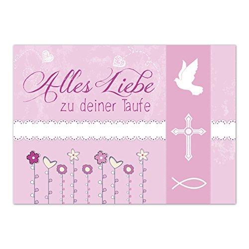 Glückwunschkarte Taufe mit Umschlag/Alles Liebe Rosa/Taufkarten/Karte für Glückwünsche/zur Feier