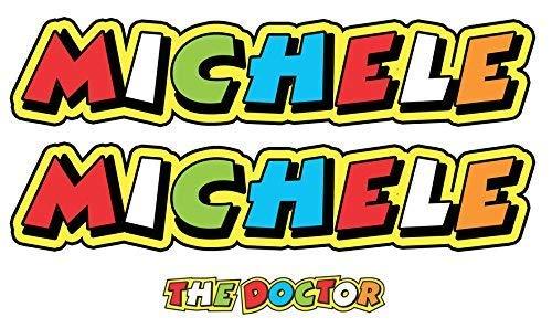 GamesMonkey Adesivo Nome Personalizzato Stile Valentino Rossi The Doctor - 2 Pezzi - Lunghezza 15 CM - Gara Cross Pista Auto Moto Stickers