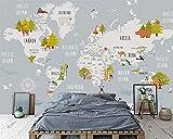LHDLily 3D Papel pintado Wallpaper Fresco Mural Habitación Infantil Con Mapamundi Xa Sala De Estar...