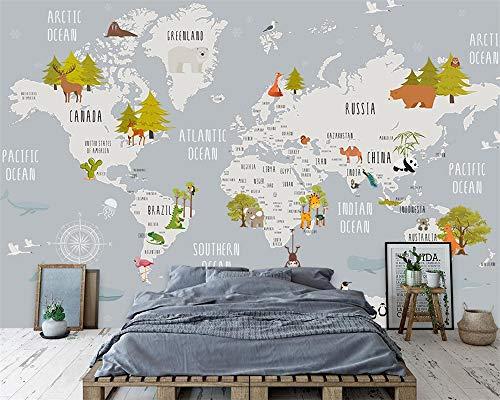 LHDLily 3D Papel pintado Wallpaper Fresco Mural Habitación Infantil Con Mapamundi Xa Sala De Estar Dormitorio 200cmX150cm