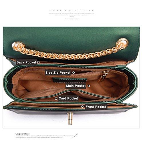 Borsa Yoome Flap Bag Retro Piccola elegante pura moda colorata catena casual di piccoli trucco per le ragazze - verde verde