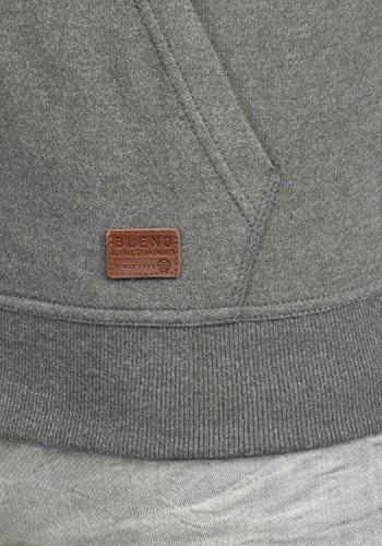 BLEND Alejandro Herren Kapuzenpullover Hoodie Sweatshirt aus hochwertiger Baumwollmischung Pewter Mix (70817)