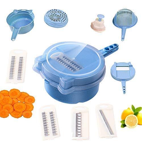 DJJGS 9 in 1 Multifunktions Easy Food Chopper Gemüseschneider Cutter Spiralizer Verstellbarer Gemüseschneider Küchenschneider Käsereibe Shredder für Zwiebeln Kartoffeln Zucchini (Blau) - Easy Slicer
